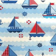 Sail Boats At Sea Jersey Fabric 150cm, 95% Cotton 5% Elastane per 1/2m