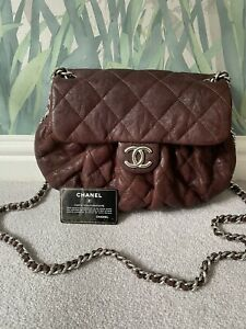Authentic CHANEL Chain-Around Crossbody Quilted Bag. Burgundy/ Silver.