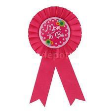 Fuchsia Mom to Be New Mummy Baby Shower Party Award Ribbon Rosette Badge