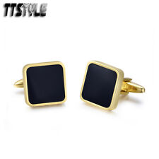 316L Stainless Steel Black Square Cufflinks High Quality Ttstyle 18K Gold Gp