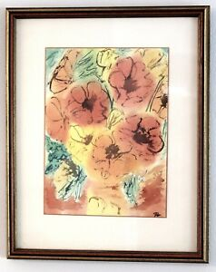 Impressionist Watercolor Painting of Flowers Artist Signed circa 1960s/70s