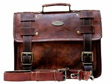 Real genuine men's leather backpack bag laptop satchel briefcase brown vintage