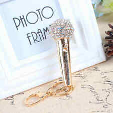 Mic Microphone Voice Charm Pendant Crystal Purse Bag Key Ring Keychain New Gift