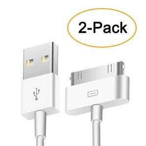 2pcs 30 Pin USB Sync Charging Cable Cord Replacement Old Apple iPod Nano/iPod