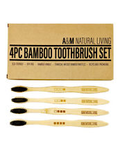 A&M Natural Living Bamboo Wooden Toothbrush Toothbrushes Charcoal Bristles Set