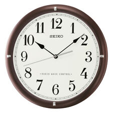 Seiko Analogue Round Wall Clock, Radio Controlled, Brown Wood, Arabic Numerals