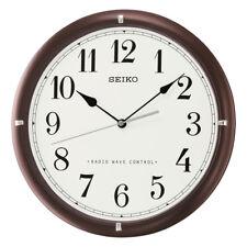 Seiko Analogue Round Wall Clock, Radio Controlled, Brown Wood, Arabic Numerals