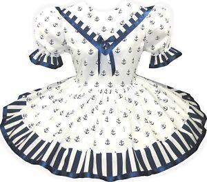 """Lydia"" Custom Fit White Sailorette Nautical Adult Baby LG Sissy Dress LEANNE"