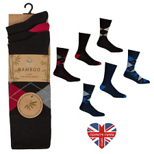 MENS LUXURY ARGYLE BAMBOO LOOSE TOP SOCKS, SUPER SOFT, ANTI BACTERIAL, SIZE 6-11