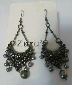 New carded ZUZU'S chandelier pearl gunmetal silver earrings