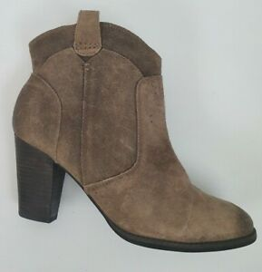 Clarks Brown Leather Upper Suede Cowboy Boot Sz 8.5