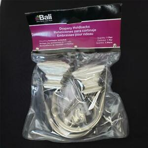 = Bali Drapery Square Satin Nickel Holdbacks With Mounting Hardware 26-9140-58