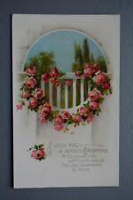 R&L Postcard: Christmas Greetings, Pink Roses, Flower Scene