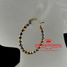 WOMEN LADIES 10K REAL 3 TONE GOLD DIAMOND CUT HOOP LOOP EARRING 2.8GRAM/1.25INCH