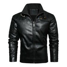 Men Fleece Lined Leather Jacket Slim Fit Motorcycle Biker Outdoor Outwear Warm L