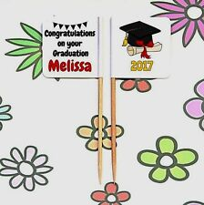 24 Personalised GRADUATION Party FOOD FLAG PICK Cup Cake Topper Table Decoration