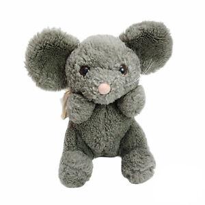 Vintage Dakin Grey Mouse Plush Squeaker Soft Stuffed Animal Toy Clean 19cm 1985