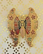 AUTHENTIC VINTAGE FISH AND CROWN GOLD TONE gold red COLOUR BUTTERFLY PIN BROOCH