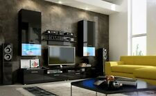 Wall unit furniture Tv stand free led Black high gloss living room 4 pieces
