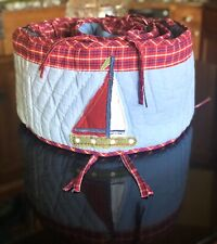Pottery Barn Red Blue Checked Baby Infant Crib Bumper With Colorful Sailboats