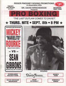 1994 Marielito Mickey Rourke v Sean Gibbons Boxing Program