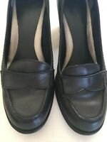 Womens Black Leather Block Heel Shoes Size 6M