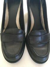 Womens Black Leather Block Heel Shoes Size 6M Preowned