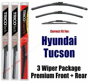 Wipers 3-Pack Premium Front & Rear fits 2005-2009 Hyundai Tucson - 19240/160/12N