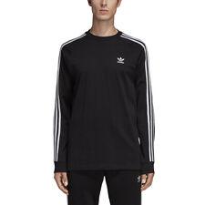 New Men Adidas Originals 3-Stripes Long Sleeve Shirt (Dv1560) Men Small