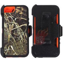 For Apple iPhone 5/5s Orange Camo Case Cover (Belt Clip Fits OtterBox Defender)G