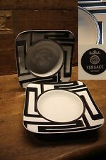 """VERSACE """"Dedalo Platinum""""  2 X Square soup plate 9""""  by Rosenthal Germany  NEW!"""