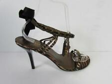 MODA IN PELLE Tiger Animal Print High Heel Strappy Sandals Charms Size 7 /40 VGC