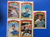 1972 Topps Chicago Cubs Lot of 5 Beckert,Kessinger,Hundley,Williams.Durocher Exc