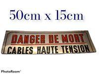 ANCIEN PANNEAU PLAQUE DANGER DE MORT CABLES HAUTE TENSION (LETTRES ÉMAILLÉES