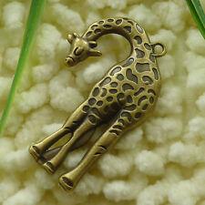 Wholesale 8//16pcs Tibetan silver alloy giraffe charm pendants 55x21mm