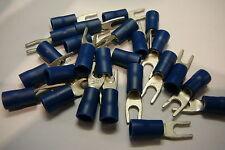 25 pacco di Blu 3.7 mm bloccaggio forcella terminale a crimpare (per 3,5 mm Bullone / vite)