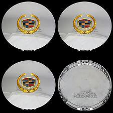 """4 CHROME & GOLD ESCALADE 17"""" 20"""" Wheel Center Hub Caps 6 Lug Hubs Nut Rim Covers"""