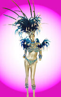 Blue Feather Brazilian Rio Carnival samba-style costume set Headdress Bra Bikini