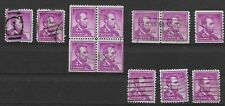 1954-1958 US Lincoln 4¢ Lot of 12 with Mixed Cancel & Format Varieties, Used/NH