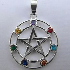 Sterling Silver (925)  Pentagram  Pendant   With  Coloured  Stones  !!    New !