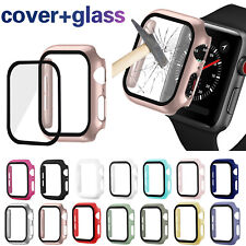Watch Cover for Apple Watch 38 42mm 40mm 44mm Case PC Bumper Tempered Glass Film