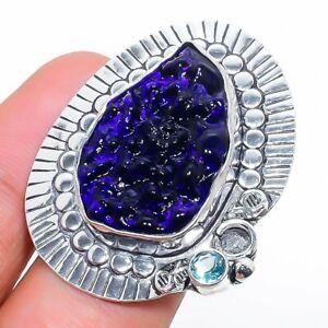 Moldavite Quartz, Blue Topaz 925 Sterling Silver Jewelry Ring Size 8 r877