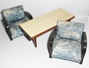 DDR Meuble Fauteuil Table Wohnstube Pour Maison de Poupée Vintage 1950er 1960er