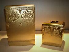 Vtg Croscill 2 Piece Gold Finished Vanity Bath Set -Waste Basket & Tissue Holder