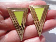 Gold-plated lime green enamel triangle 12 gram 39 mm pierced earrings