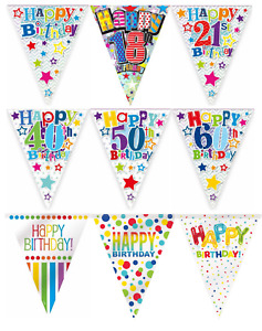 FLAG BANNER Holographic Children's Happy Birthday Party BUNTING Decoration 12ft