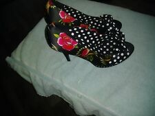 Iron Fist  Open  Toe Platform Heels Size 10 Polka Dots & Flowers