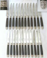 Antique French Sterling Silver Collar Ebony Handle 24pc Table Dessert Set 1880