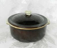 "Vtg Casserole with Lid Brown & White Drip Glaze Baking Bowl Dish 8"" x 3-1/4"""