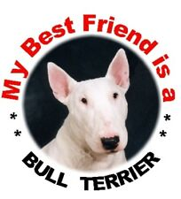 2 White Bull Terrier Car Stickers By Starprint